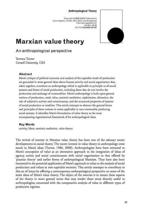 須崎読書会「第四回マルクスと人類学」Trrence Turner 'Marxian Value Theory, an anthropological perspective'を読む