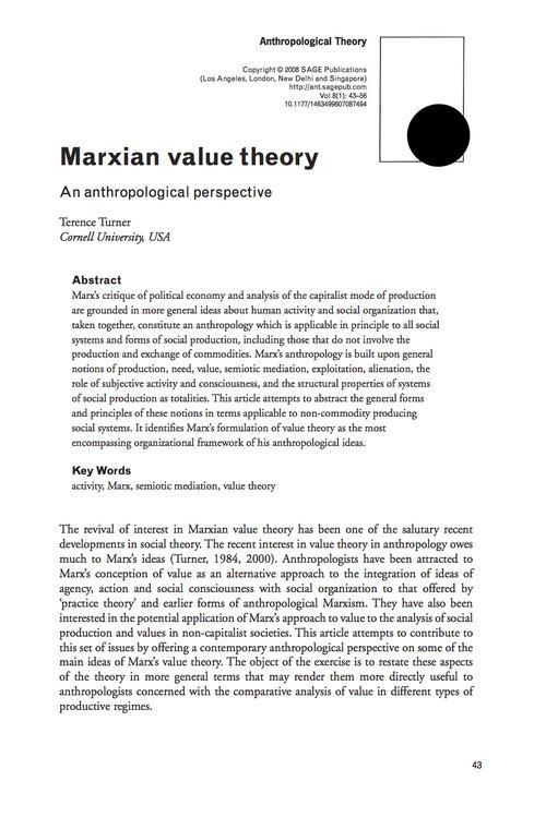 須崎読書会「第三回マルクスと人類学」Terrence Turner 'Marxian Value Theory, an anthropological perspective'を読む